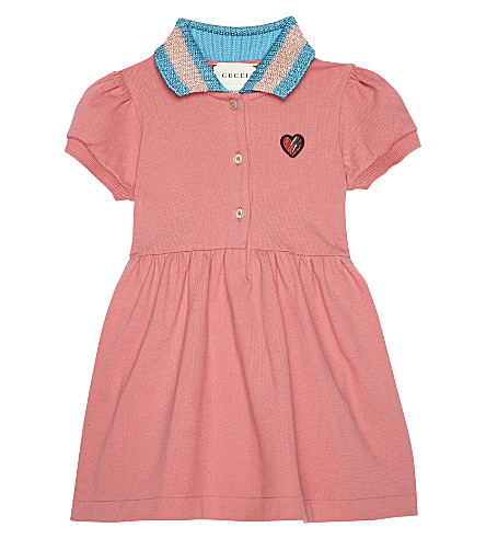 GUCCI Web collar cotton polo dress 6-36 months (Peony petal
