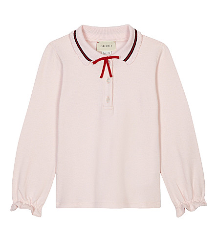 GUCCI Crocheted trim cotton long-sleeved polo shirt 6-36 months (Pale+pink