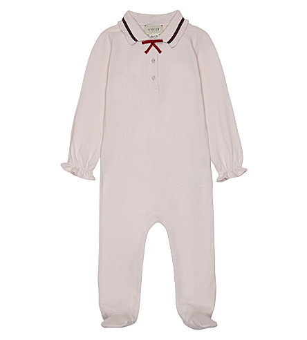 GUCCI Bow detail cotton sleepsuit 3-24 months (Pale+pink