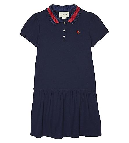 GUCCI Web stripe cotton polo dress 4-12 years (Oltremare