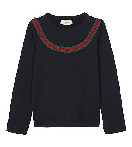 GUCCI Frilled web stripe cotton sweatshirt 4-12 years (Urban+blue