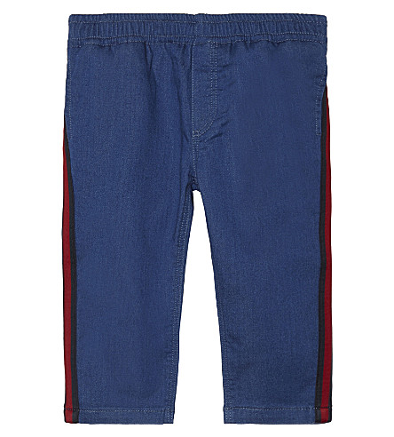GUCCI Web stripe cotton jeans 6-36 months (Blue/yellow/red