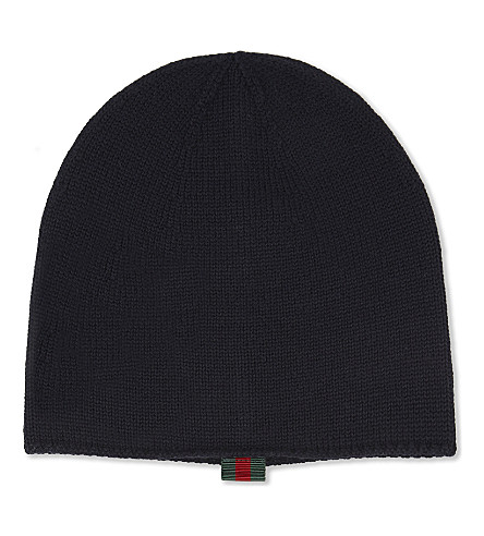 GUCCI Web stripe tab knitted woollen hat (Midnight+blue