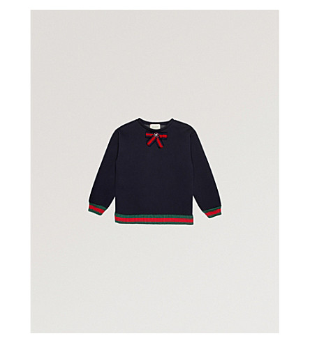 GUCCI Web trim bow detail cotton-jersey sweatshirt 4-12 years (Navy