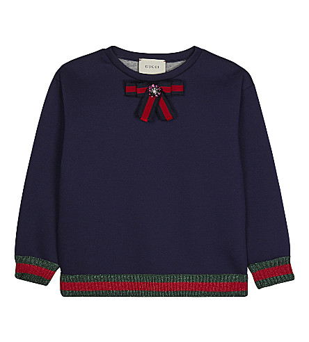 GUCCI Web trim bow detail jumper 6-12 years (Dark+indigo