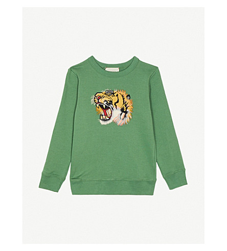 GUCCI Tiger-appliqué cotton-jersey sweatshirt 4-12 years (Green