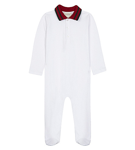GUCCI Piqué cotton baby grow 3-18 months (White