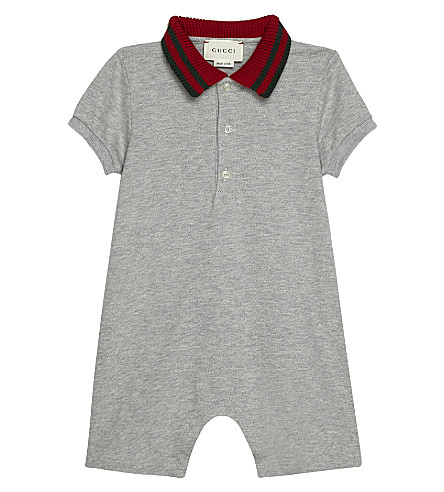 GUCCI Web stripe cotton bodysuit 0-24 months (Light+grey