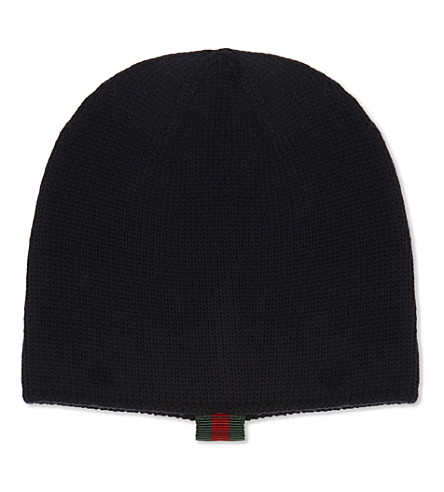 GUCCI Web tab knitted woollen hat (Midnight+blue
