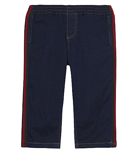 GUCCI Web Stripe stretch jeans 6-36 months (Indigo