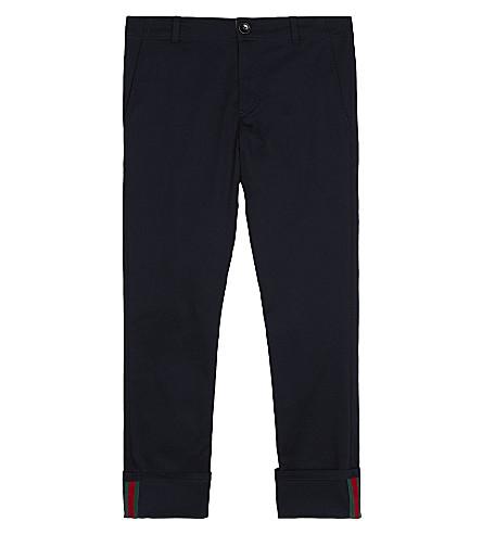 GUCCI 网袖口棉混纺裤4-12 年 (城市 + 蓝色