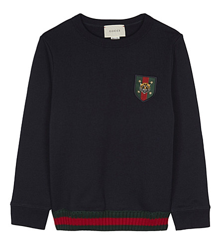 GUCCI Embroidered shield cotton jumper 4-12 years (Urban+blue