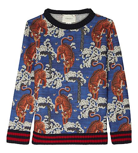 GUCCI Tiger cotton sweatshirt (Blueberry