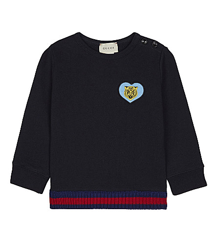 GUCCI Embroidered shield cotton jumper 6-36 months (Urban+blue