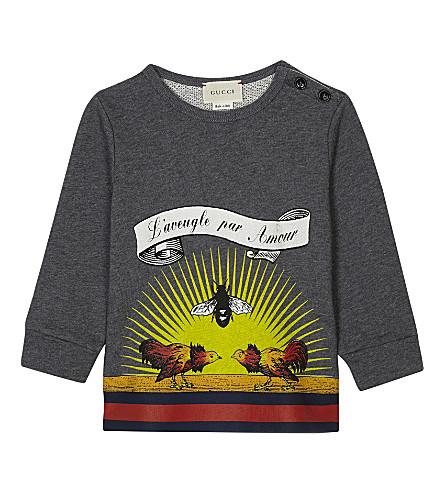 GUCCI Sunrise cotton sweatshirt 6-36 months (Grey