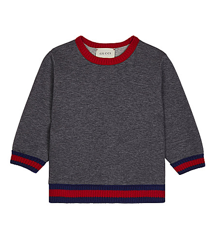GUCCI Web trim cotton jumper 6-36 months (Grey