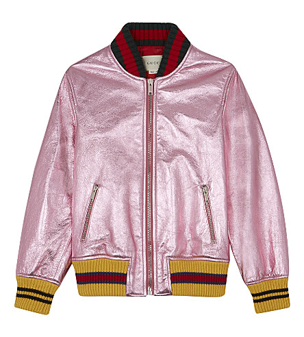 GUCCI Metalic leather bomber jacket 8-12 years (Rose