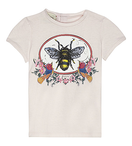 GUCCI Bee print cotton T-shirt 6-36 months (Pale+pink