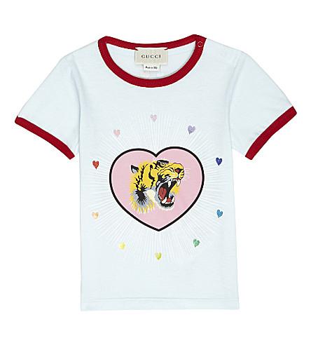 GUCCI Tiger heart cotton T-shirt 6-26 months (Pale+blue