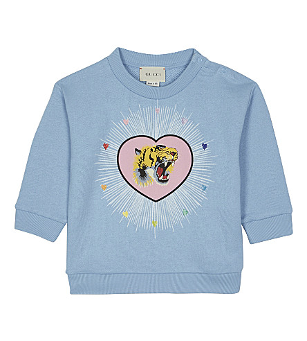 GUCCI Tiger heart print cotton jumper 6-36 months (Sky/red