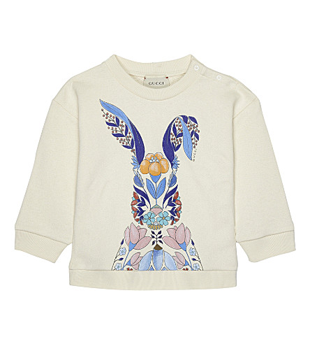 GUCCI Flower bunny cotton sweatshirt 6-36 months (White
