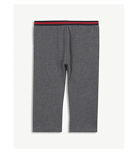 GUCCI Web striped cotton tracksuit bottoms 6-36 months (Grey