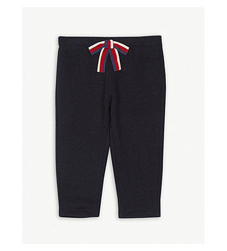 GUCCI Bow detail cotton jogging bottoms 6-36 months (Urban blue/red/white