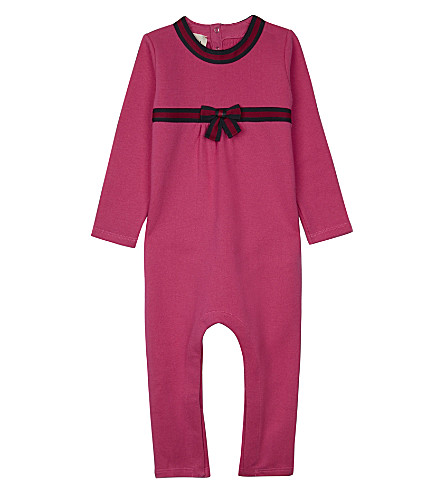 GUCCI Web stripe cotton baby-grow 3-24 months (Fucsia