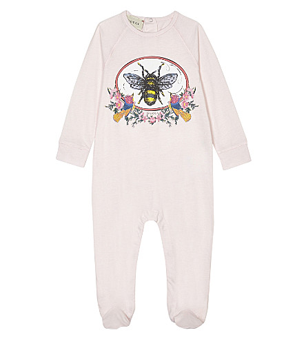 GUCCI Bee print cotton sleepsuit 0-12 months (Pale+pink