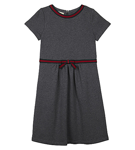 GUCCI Web stripe bow cotton dress 4-12 years (Grey