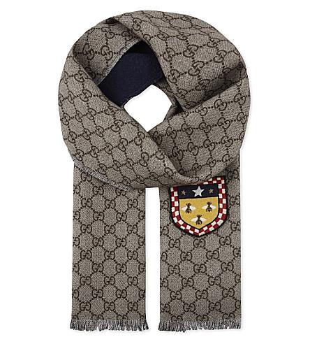 GUCCI GG print wool scarf (Midnight/beige