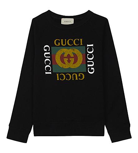 GUCCI 'GG' logo cotton sweatshirt 4-12 years (Black