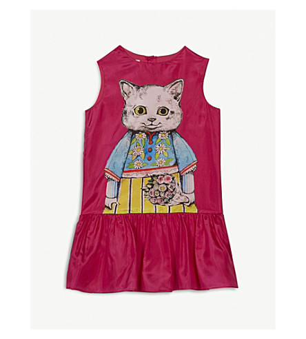 GUCCI Kitten print silk dress 6-12 years (Fuschia+pink