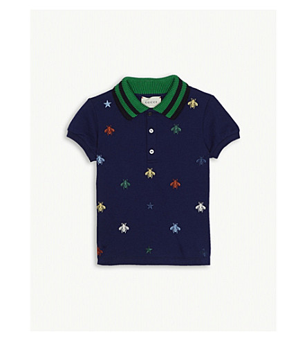 GUCCI Bee and stars polo shirt 3-36 months (Royal+blue