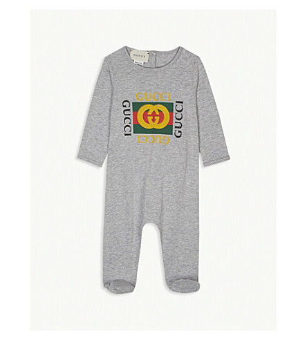 GUCCI Logo print cotton sleepsuit 0-9 months (Grey