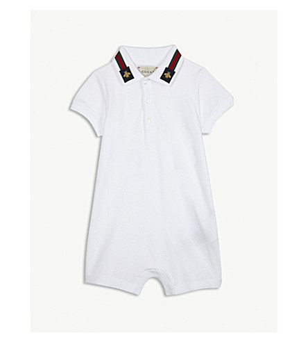 GUCCI Bee-embroidered cotton bodysuit 3-18 months (White