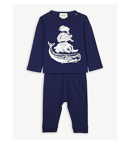 GUCCI Animal-print cotton T-shirt and trousers set 0-12 months (Navy