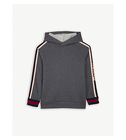 GUCCI Side-stripe cotton hoody 4-12 years (Grey