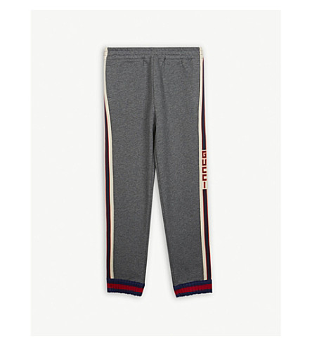GUCCI Web strped cotton tracksuit bottoms 4-12 years (Md+grey