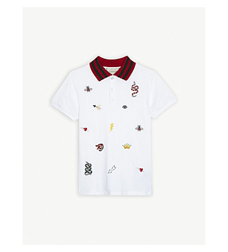 GUCCI Embroidered cotton-blend polo shirt 4-12 years (White