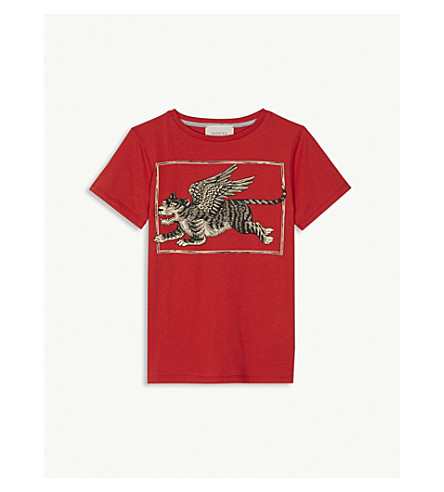 GUCCI Winged tiger print t-shirt 4-12 years (Red