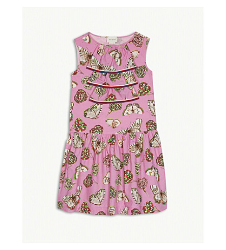 GUCCI Butterfly-print cotton dress 6-12 years (Pink