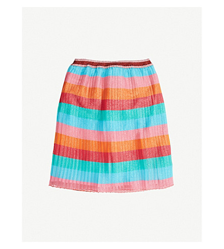 GUCCI Metallic striped pleated skirt 4-12 years (Multi+coloured