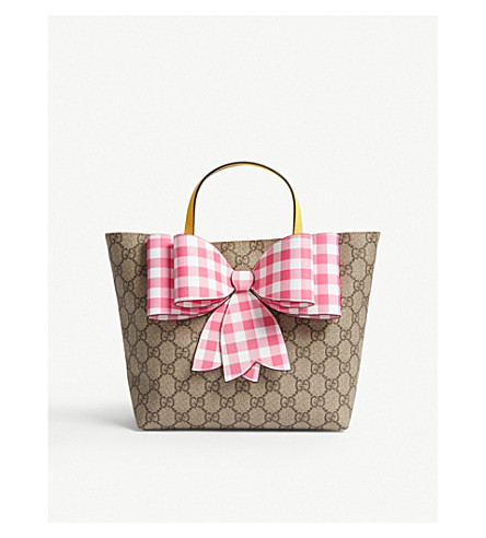 GUCCI GG Supreme canvas bow tote bag (Beige+multi