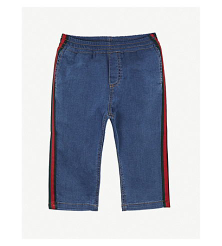 GUCCI Web-striped denim jersey trousers 3-36 months (Denim