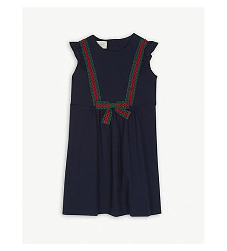 GUCCI Web striped lace cotton dress 4-12 years (Navy