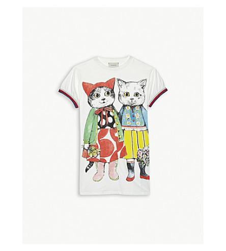 GUCCI Cat print cotton dress 4-12 years (White