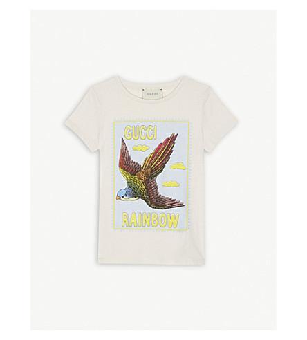 GUCCI Rainbow bird cotton T-shirt 4-12 years (Off+white