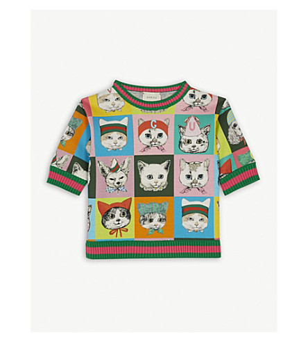 GUCCI Pets print cotton sweatshirt 4-12 years (Light+grey