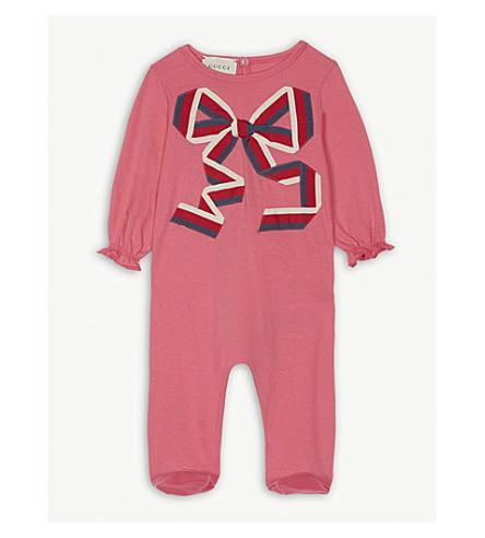 GUCCI Grossgrain bow cotton babygrow 0-9 months (Pink